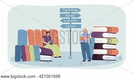Tiny Man And Woman Reading Books Of Different Genres. Male Character Sitting On Huge Books Flat Vect