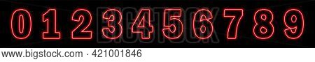 Set Of Neon Red Numbers On Black Background. Learning Numbers, Serial Number, Price, Place. Vector I