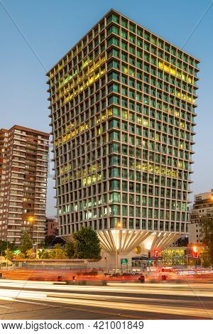 Santiago, Region Metropolitana, Chile - May 18, 2021: Modern Office Building At The Apoquindo Avenue