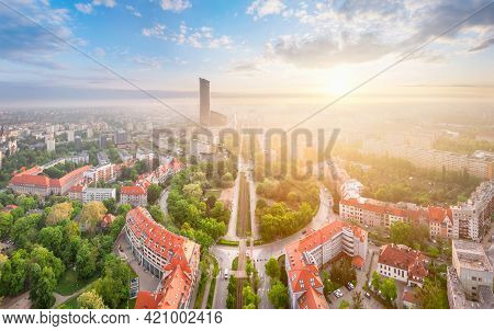Wroclaw, Poland. Aerial View Of Powstancow Slaskich Square - A Square In The Form Of A Roundabout (s