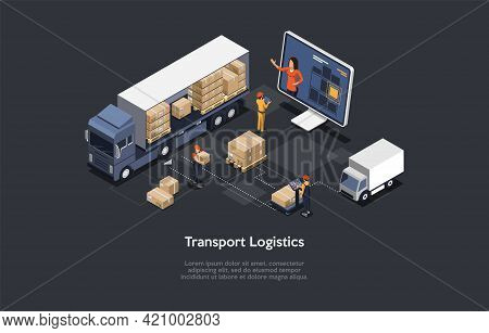 3d Composition, Vector Isometric Art. Cartoon Style. Transport Logistics Idea. Elements And Writings