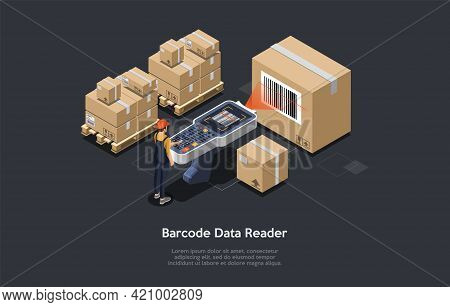 3d Composition, Vector Isometric Art. Cartoon Style. Barcode Data Reader Idea. Elements And Writings