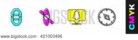 Set Rafting Boat, Kayak Or Canoe, Location Of The Forest And Compass Icon. Vector
