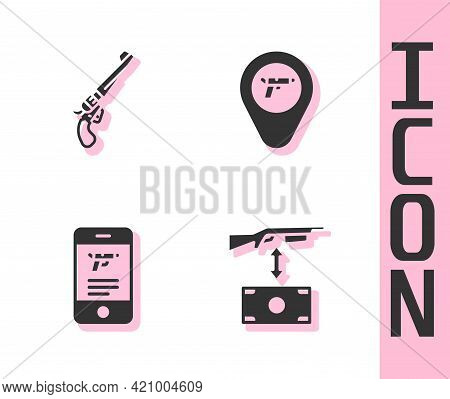 Set Buying Assault Rifle, Revolver Gun, Shop Weapon Mobile App And Location With Icon. Vector