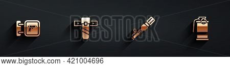 Set Hunting Shop Weapon, Knife Holster, Anti-tank Hand Grenade And Hand Smoke Icon With Long Shadow.