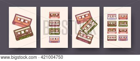Set Of Contemporary Art Posters With Super Stereo Cassettes. Vector Illustration. .collection Of Ste