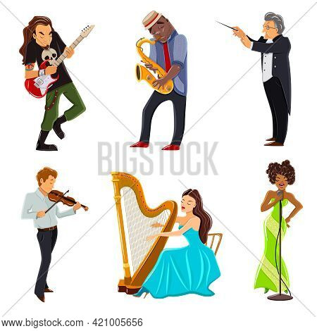 Musicians Playing Harp Violin Guitar Saxophone And Symphony Orchestra Conductor Flat Icons Set Abstr