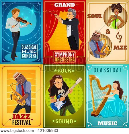 Jazz Playing Musicians And Classical Symphony Orchestra Conductor 6 Flat Banners Composition Poster