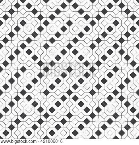Seamless Pattern. Modern Stylish Geometrical Texture. Regularly Repeating Linear Rhombuses, Hexagons