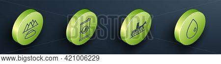 Set Isometric Oilfield, Bio Fuel Barrel, Oil Platform In The Sea And Oil Drop Icon. Vector
