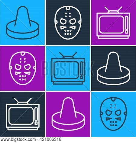 Set Line Mallet For Playing Air Hockey, Retro Tv And Hockey Mask Icon. Vector