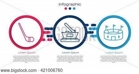 Set Line Ice Hockey Stick, Ice Hockey Cup Champion And Hockey Stadium. Business Infographic Template