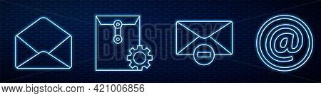 Set Line Delete Envelope, Envelope, Envelope Setting, Mail And E-mail And Postal Stamp. Glowing Neon