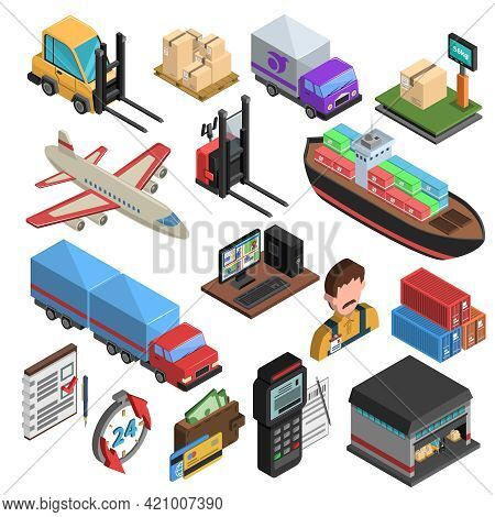 Delivery Types And Logistic Chain Isometric Icons With Loader Truck Ship Aircraft Container Warehous