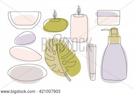 Spa Therapy. Hot Stones, Candles, Tropical Leaf, Oil Bowl, Cream Jar, Tubes, Bottles In Fashionable