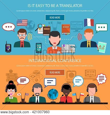 Translation Horizontal Banners With Real Time Interpretation And Multinational Conference Isolated V