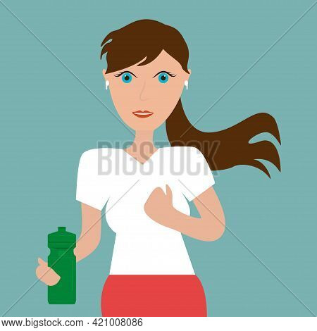 Healthy Fitness Lifestyle. Sporty Girl Icon Bottle Portrait Vector Illustration