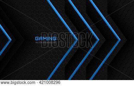 Dark Gaming Background. Blue Arrows On A Dark Abstract Hexagonal Grid Vector Illustration. Futuristi