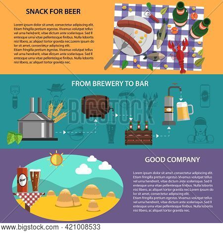 Horizontal Banners Set With Beer Snacks Brewery Bar And Good Company Isolated Vector Illustration