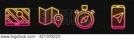 Set Line Compass, City Map Navigation, Folded Map With Location Marker And City Map Navigation. Glow