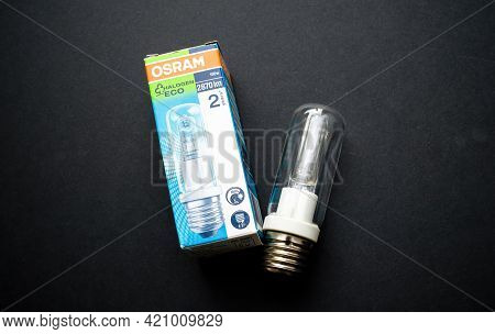 Munich, Germany - May 1, 2017: New Osram Halogen Eco Lamp With 150w Power And 2870 Lm Lamps With E27