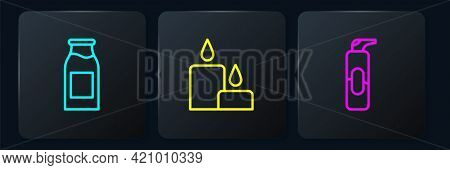 Set Line Bottle With Milk, Spray Can For Hairspray And Burning Candle. Black Square Button. Vector