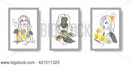 Women Heads And Spring Flowers Wall Decoration Set. Modern Abstract Beauty Face With Flowers One Lin