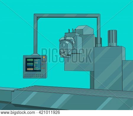 Automated Factory Line With Control Panel