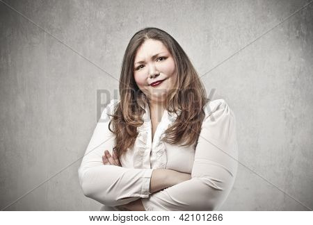 fat woman with many doubts