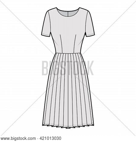 Dress Pleated Technical Fashion Illustration With Short Sleeves, Fitted Body, Knee Length Skirt. Fla