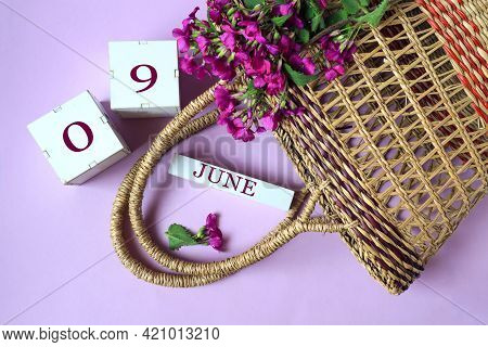 Calendar For June 9: Cubes With The Numbers 0 And 9, The Name Of The Month Of June In English, Wicke