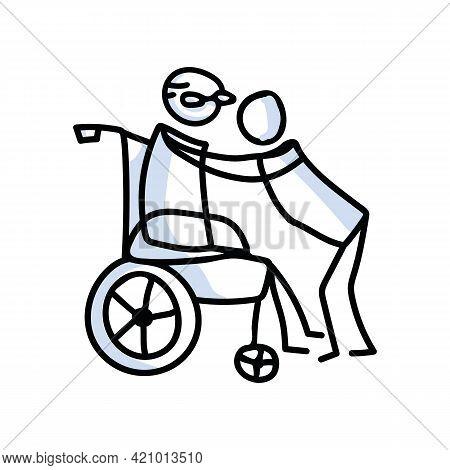 Drawn Stick Figure Grandpa Hugging Grandchild Vector. Senior Together Support Embrace Illustration.