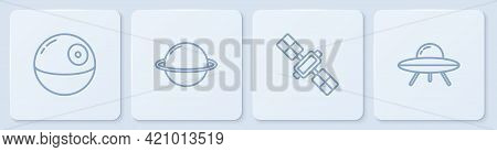 Set Line Death Star, Satellite, Planet Saturn And Ufo Flying Spaceship. White Square Button. Vector