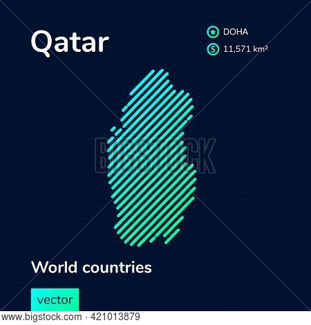 Map Of Qatar. Vector Creative Digital Neon Flat Line Art Abstract Simple Map With Green, Mint, Turqu