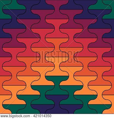 Seamless Pattern. Tiles Ornament. Oriental Ornamentation. Repeated Dumbbells Shapes. Tile Wallpaper.