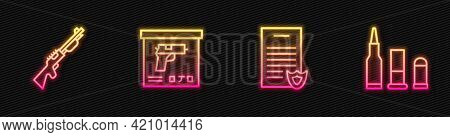 Set Line Firearms License Certificate, Hunting Gun, Military Ammunition Box And Bullet. Glowing Neon