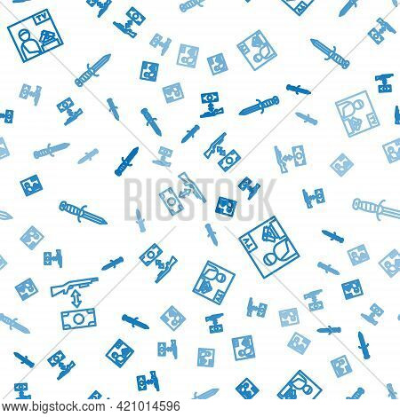 Set Line Buying Assault Rifle, Advertising Weapon And Military Knife On Seamless Pattern. Vector