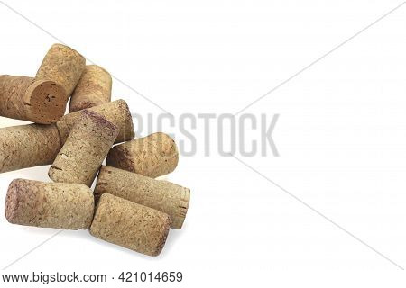 Wine Cork From From Semi-sweet Wine, Cork From White Wine And Cork From Red Wine Isolated On White B