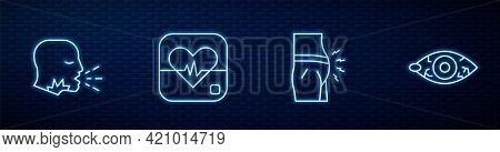 Set Line Abdominal Bloating, Man Coughing, Heart Rate And Reddish Eye. Glowing Neon Icon On Brick Wa