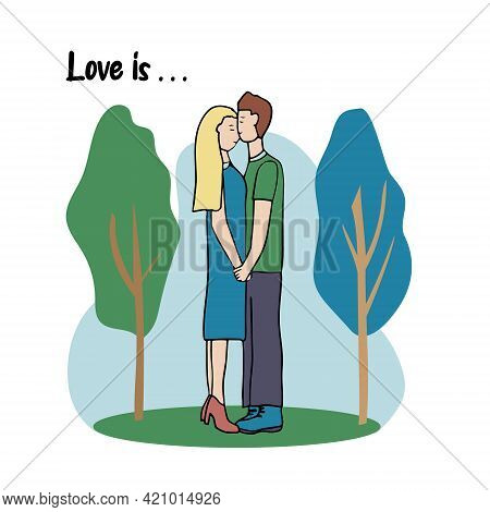 Romantic Couple On The Street In The Park. Cute Vector Characters. Guy And Girl In Love, Holding Han