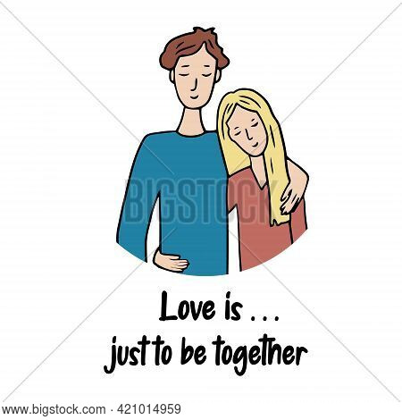 Romantic Couple. Cute Vector Characters. A Guy And A Girl In Love And Embracing. A Scene Of Tenderne