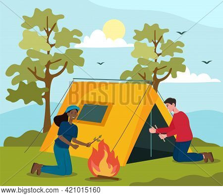 Happy Male And Female Characters Are Spending Weekend In The Woods Together. Smiling Woman Fixing A