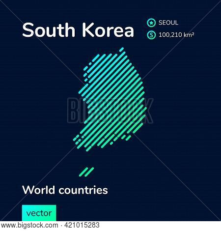 Map Of South Korea. Vector Creative Digital Neon Flat Line Art Abstract Simple Map With Green, Mint,