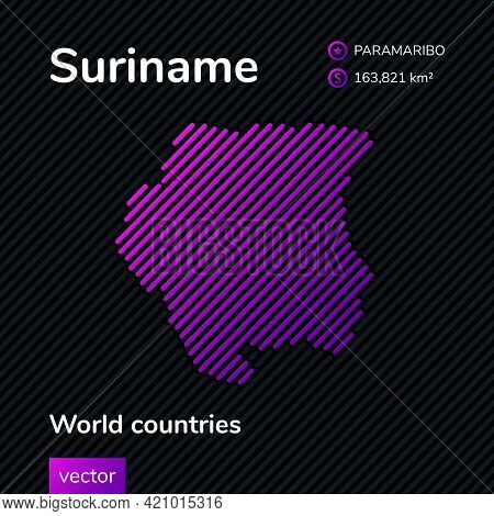 Vector Creative Digital Neon Flat Line Art Abstract Simple Map Of Suriname With Violet, Purple, Pink