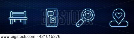 Set Line Search Heart And Love, Romantic Bench, Mobile With And Location. Glowing Neon Icon On Brick