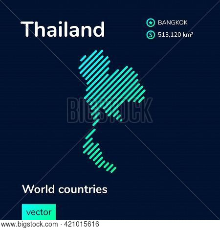 Vector Creative Digital Neon Flat Line Art Abstract Simple Map Of Thailand With Green, Mint, Turquoi
