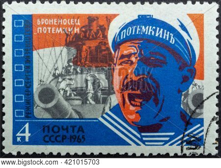 Ussr - Circa 1965: Postage Stamp 'scene From 'battleship Potemkin' Director Eisenshtein' Printed In