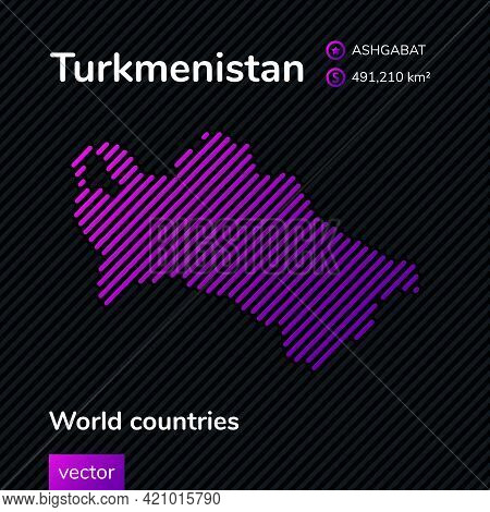 Vector Creative Digital Neon Flat Line Art Abstract Simple Map Of Turkmenistan With Violet, Purple,