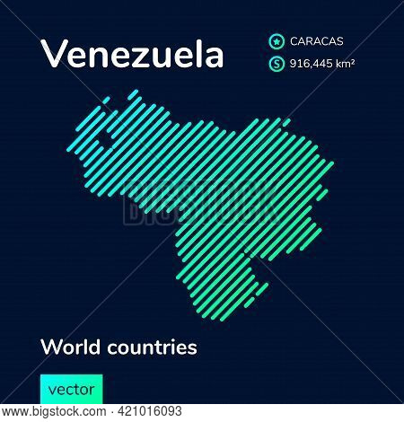 Vector Creative Digital Neon Flat Line Art Abstract Simple Map Of Venezuela With Green, Mint, Turquo