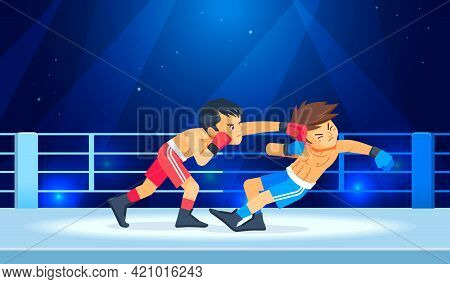 Boys Fighter Or Boxer Loses And Gets Hit In The Face While Having A Knockdown Or Knockout In The Box